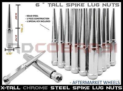 32 Pc Set Spike Lug Nuts Chrome 14x1.5 ¦ 8 Lug GMC Yukon Denali Sierra