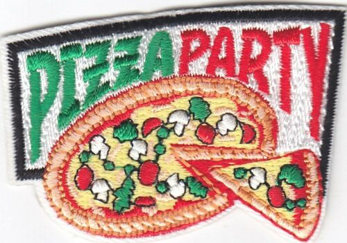 "/""PIZZA PARTY/"" PATCH Iron On Embroidered Applique//Food Fun Entertainment"
