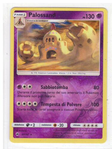 POKEMON Palossand 62//147 Rara REVERSE Ombre Infuocate Italiano