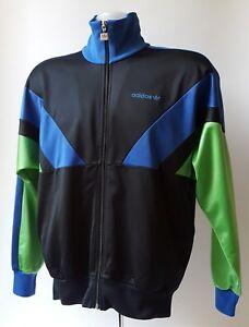 Adidas Homme Noir/bleu/vert Vintage Décontracté Survêtement Top-petit-afficher Le Titre D'origine