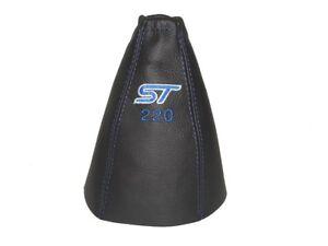 Schaltmanschette-Schaltsack-Fuer-Ford-Mondeo-MK3-2003-06-Leder-034-ST220-034-Blau-Logo