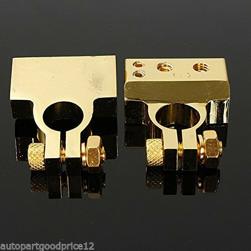 - and + Battery Terminals Clamps Connectors AWG Gauge 2 4 8 Car Truck 2pcs 12V