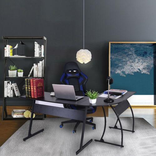 L-Shaped Corner Desk Computer Gaming Laptop Table Workstation Home Office BK US