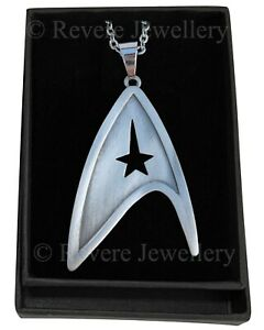 Star-Trek-Brooch-Badge-Necklace-Brushed-Steel-Communicator-Starfleet-Command