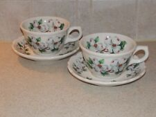 SYRACUSE RESTAURANT CHINA DOGWOOD PATTERN SCALLOPED PR  CUPS & SAUCERS