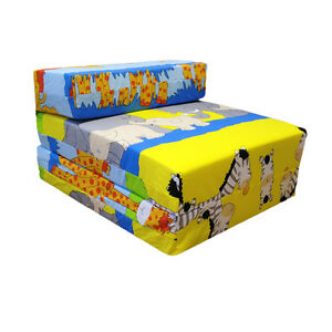 Image is loading Children-039-s-Z-Bed-Fold-Out-Chair-Savannah-  sc 1 st  eBay & Childrenu0027s Z Bed Fold Out Chair Savannah Animals Mattress Sleepover ...
