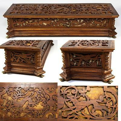 """Animals Figural Discounts Sale Antique Black Forest Or French Carved 14.5"""" Jewelry Box Casket"""