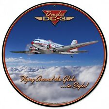 Douglas DC-3 Round Metal Sign - Hand Made in the USA with American Steel