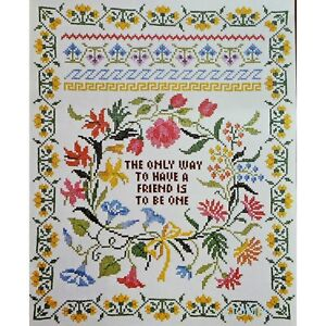 "THE WAY TO HAVE A FRIEND Sampler Vtg Stamped Cross Stitch Kit 16"" x 20"""
