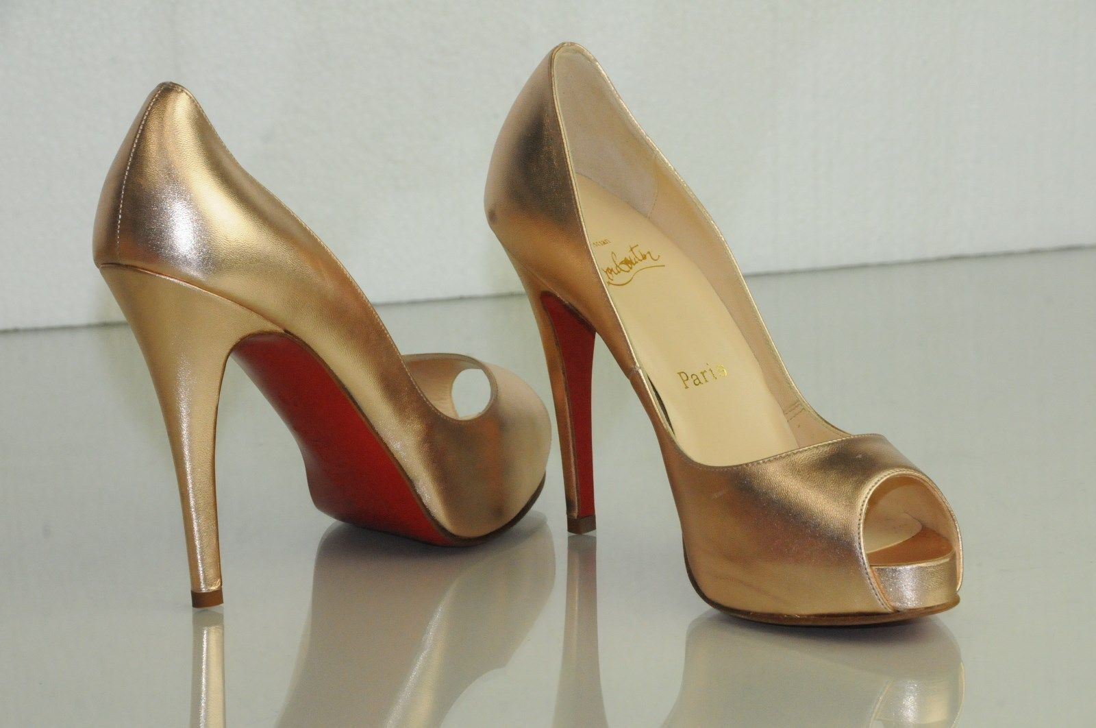 New CHRISTIAN LOUBOUTIN VERY PRIVE pink gold NUDE Peep Toe Pumps SHOES 36.5 37.5