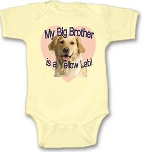 35af1c6f375 My Big Brother is a Yellow Lab Baby Bodysuit Cute Gift Choose Size ...