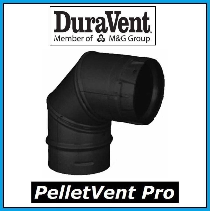 DuraVent PelletVent Pro Tubo 3  diámetro 90 grados Negro codo  3PVP-E90B  nuevo