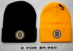 READ-LISTING-Boston-Bruins-HEAT-APPLIED-Flat-Logos-on-2-Beanie-Knit-Cap-hat