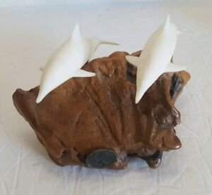 Vintage John Perry Twin Dolphin Sculpture Burlwood