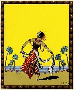 Emile-Gallois-Danse-Java-Danseuse-Javanaise-Estampe-Pochoir-original
