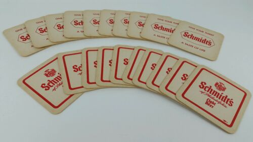 "20 Vintage Schmidt's Light ""Give Your Thirst A Taste Of Life"" Beer Coasters"