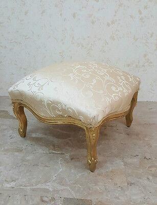 Pouf Smurf Low Large Gold Leaf Wood Ivory Furniture Bedroom Living Room Ebay
