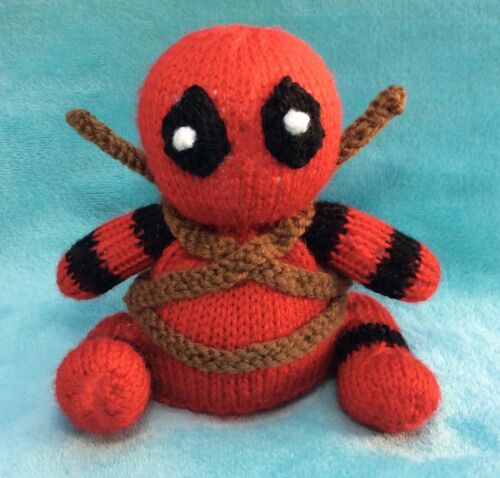 KNITTING PATTERN 13 cms Marvel toy Deadpool inspired chocolate orange cover