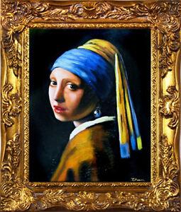 Jan-Vermeer-Das-Maedchen-mit-dem-Perlenohrring-34x30-Olgemaelde-handgemalt-Rahmen