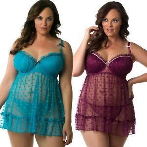 892f340ade Plus Size Women Lace Sexy-Lingerie Nightwear Babydoll Sleepwear Dots ...