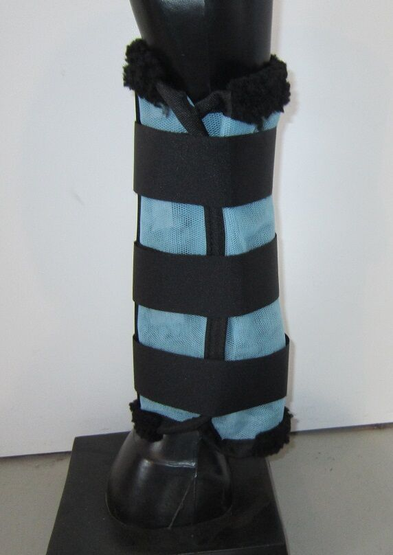 Horse Fly Mesh Boots Set of 4 Pale bluee & Blk Australian Made Summer Predection