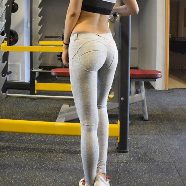Damen Baumwolle Slim Hose Stretch Fitness Sporthose Skinny Legging Leggins SF