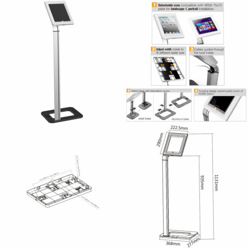 """Anti Theft Tablet Floor Stand iPad 2 3 4 Air 1 2 Pro 9.7 Tablet Mount 8.9/""""-10.1/"""""""