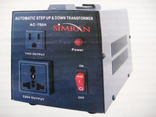 Simran AC750A Voltage Converter 110v 220v AC 750W Max Transformer Step UP Down