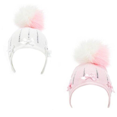 Pink Diamonte Pom Pom Hat 0-6M