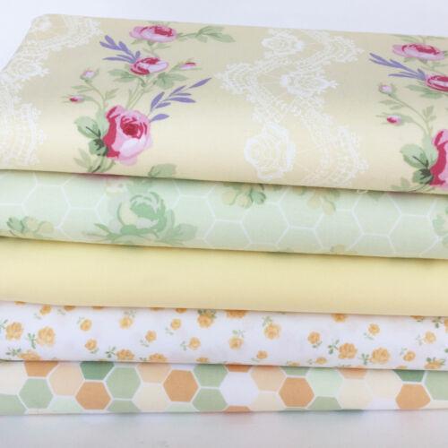Fidelia by Clothworks Lemon /& green 100/% cotton fabrics /& fat quarter bundle 2
