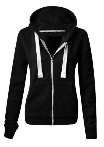 Ladies Fleece PLAIN ZIP HOODIE Plus Size Zipper Sweatshirt Jacket Small-XXXXXXXL