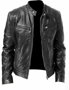 3419edb52599 Men's Vintage Cafe Racer Black Retro Motorcycle Real Biker Leather ...