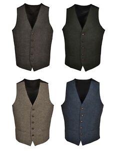 T1-Brown-Green-Navy-Blue-Mens-Wool-Tweed-Slim-Fit-Vest-Waistcoat