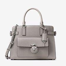 NWT MICHAEL KORS EMMA Saffiano Leather E/W Satchel Crossbody Bag PEARL GREY$398