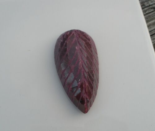 Ruby Pear Natural Gem Flower Carved 177 carats