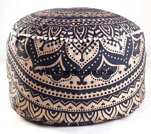 Mandala-Indio-de-Oro-y-Negro-Ombre-escabel-Otomano-Puf-Puf-Redonda-Cubierta-de-asiento
