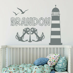 boys name wall decal anchor decal sticker nautical nursery decor