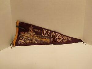 U.S.S. MASSACHUSETTS (BIG MAMIE) FALLS RIVER MASS PENNANT (50's-60's)  VERY RARE