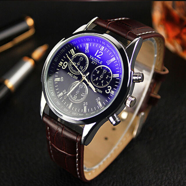 YAZOLE Mens Watch UNISEX Date Leather Stainless Steel Military Sport Wrist Watch