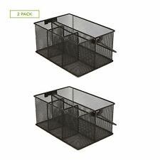 Mind Reader Storage Basket Organizer For Desk Supplies And Utensils 2 Pack Black