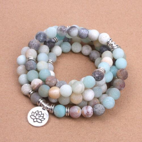 Women Bracelet Matte Frosted Beads with Lotus OM Buddha Charm Yoga Bracelet Mala