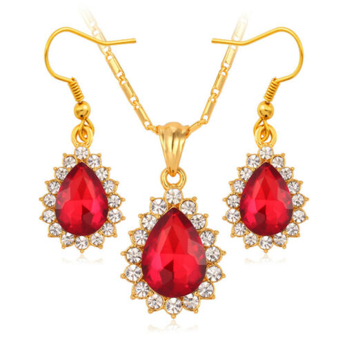 Girl/'s Jewelry Gift Water Drop Crystal Pendant Gold Plated Necklace Earrings Set