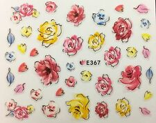 Nail Art 3D Decal Stickers Watercolor Flowers E367