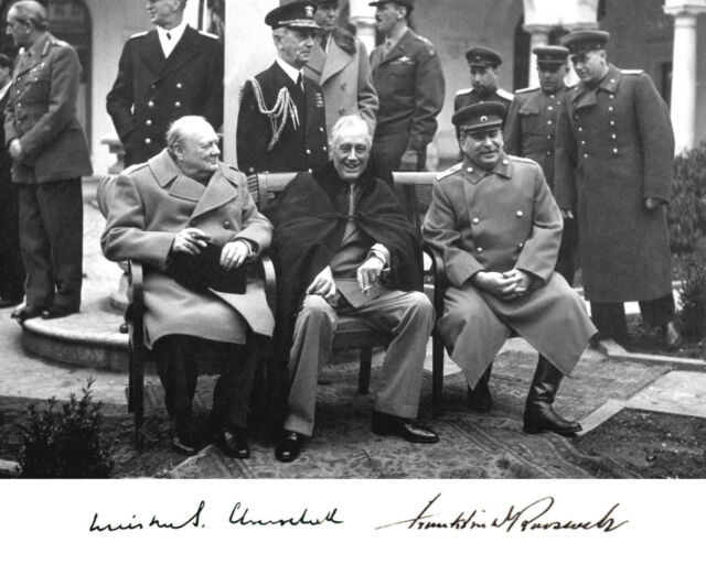 Franklin Roosevelt FDR Autograph Winston Churchill Stalin 8 x 10 Photo Picture