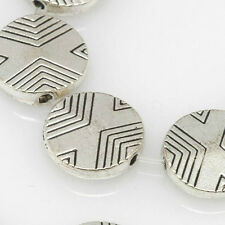 Pack of 10 10mm Coin Shape Tibetan Silver Spacer Charms Finding Beads