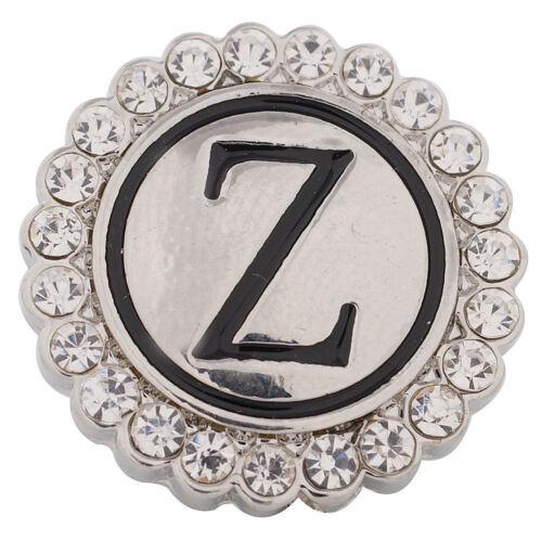 1 PC 18MM Letter Z Alphabet Rhinestone Silver Candy Snap Charm KC8555 CC2856