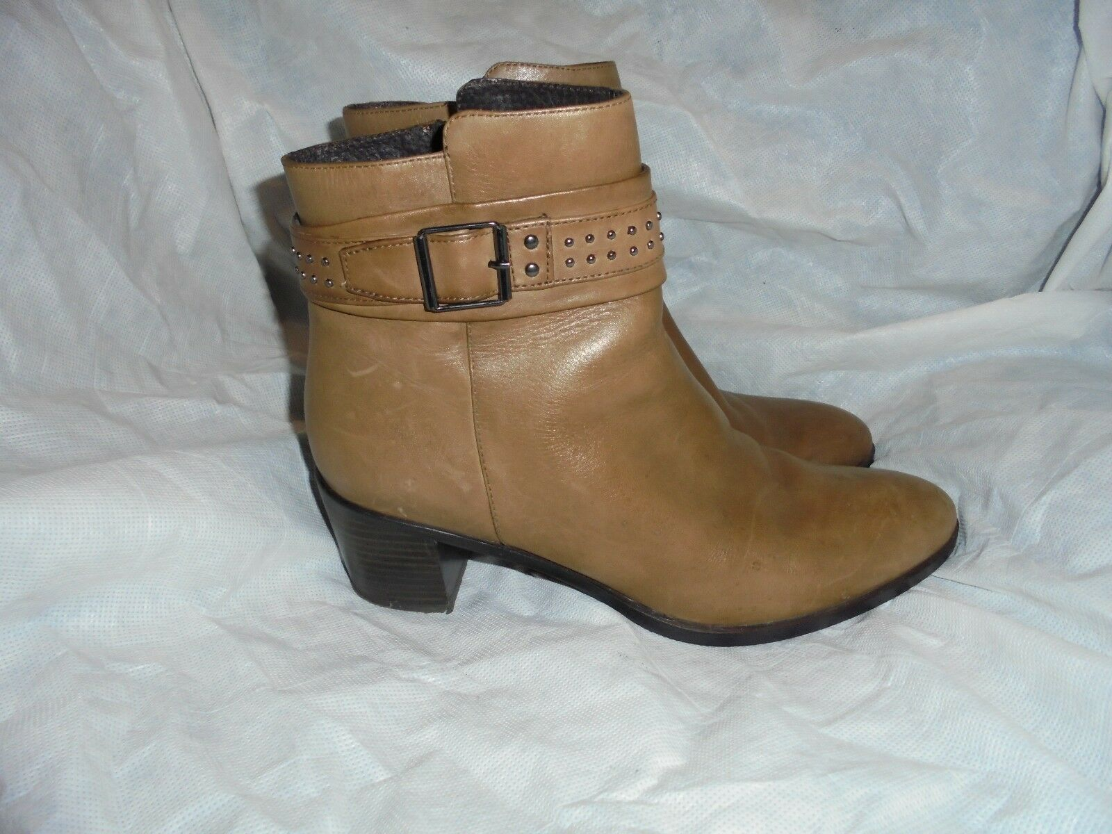 ROBERTO DURVILLE WOMEN'S BROWN LEATHER ZIP UP ANKLE BOOT SIZE VGC