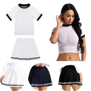Top-Corto-Transparente-para-Mujer-Camiseta-Camiseta-Mini-Falda-Escolar-Nina-Traje-de-Disfraz-Ropa-de