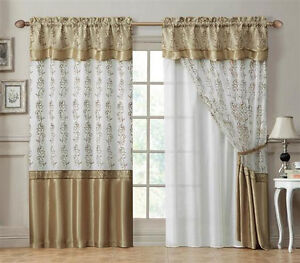 Double Layer Window Curtain Drapery Panel White Back