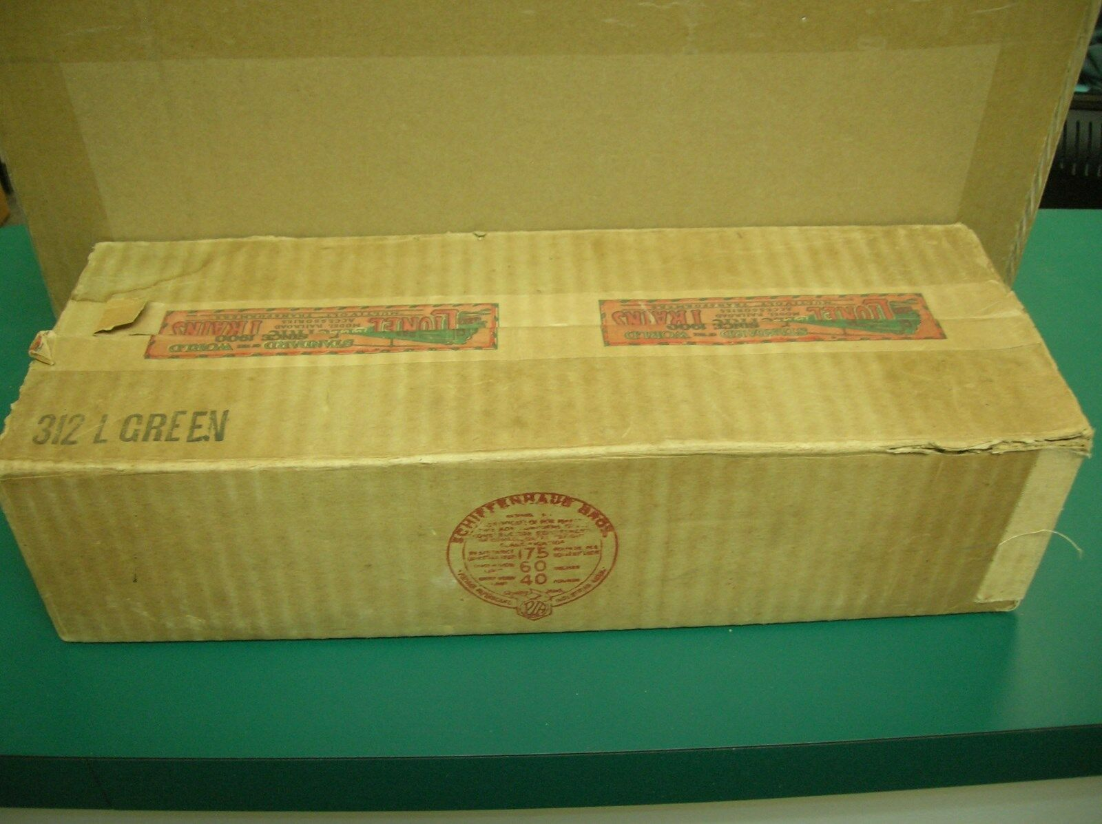LIONEL STANDARD GAUGE 312 L GREEN OBSERVATION CAR EMPTY BOX -.. MAKE OFFERS
